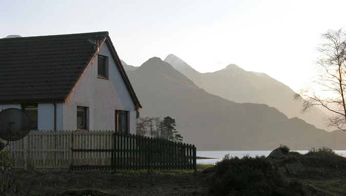 Seaside Cottage and the mountains of Kintail